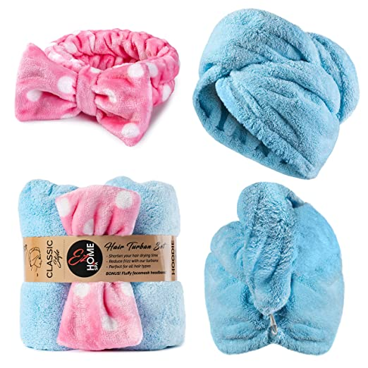 Ez Home & Spa Hair Towel Wrap & Headband