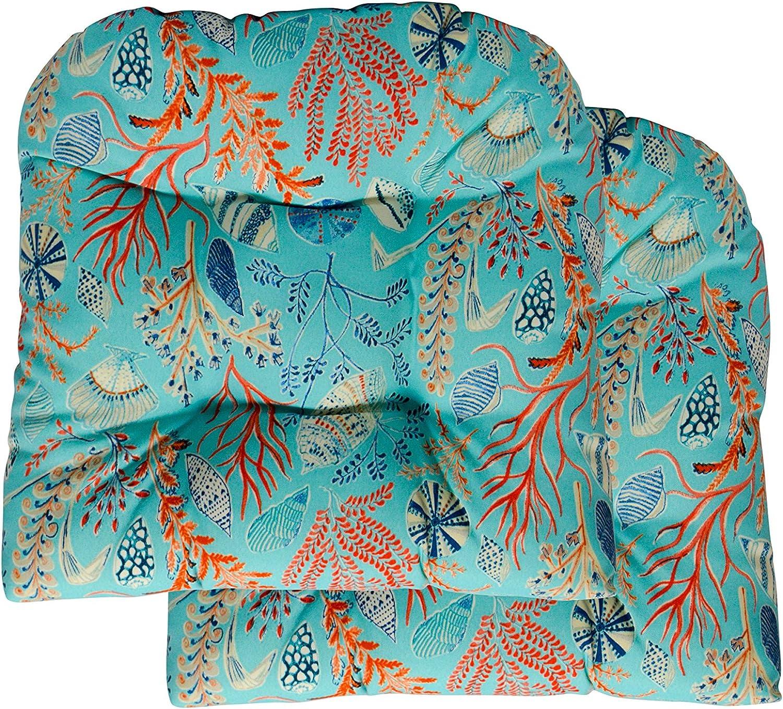 RSH Decor 2 Wicker Tufted Seat Cushions ~ Sun Dream Coastal Ocean Beach Tropical Blue, Peach, White, Cream, Orange, Coral, Red ~ Ocean Life ~ Coastal ~ Coral Reef
