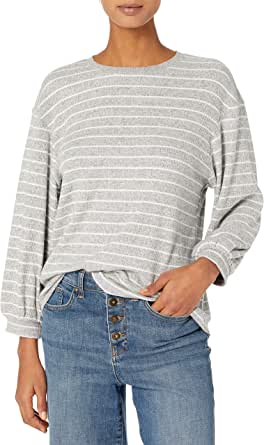 Daily Ritual Amazon Brand Women's Cozy Knit Rib Blouson-Sleeve Sweatshirt