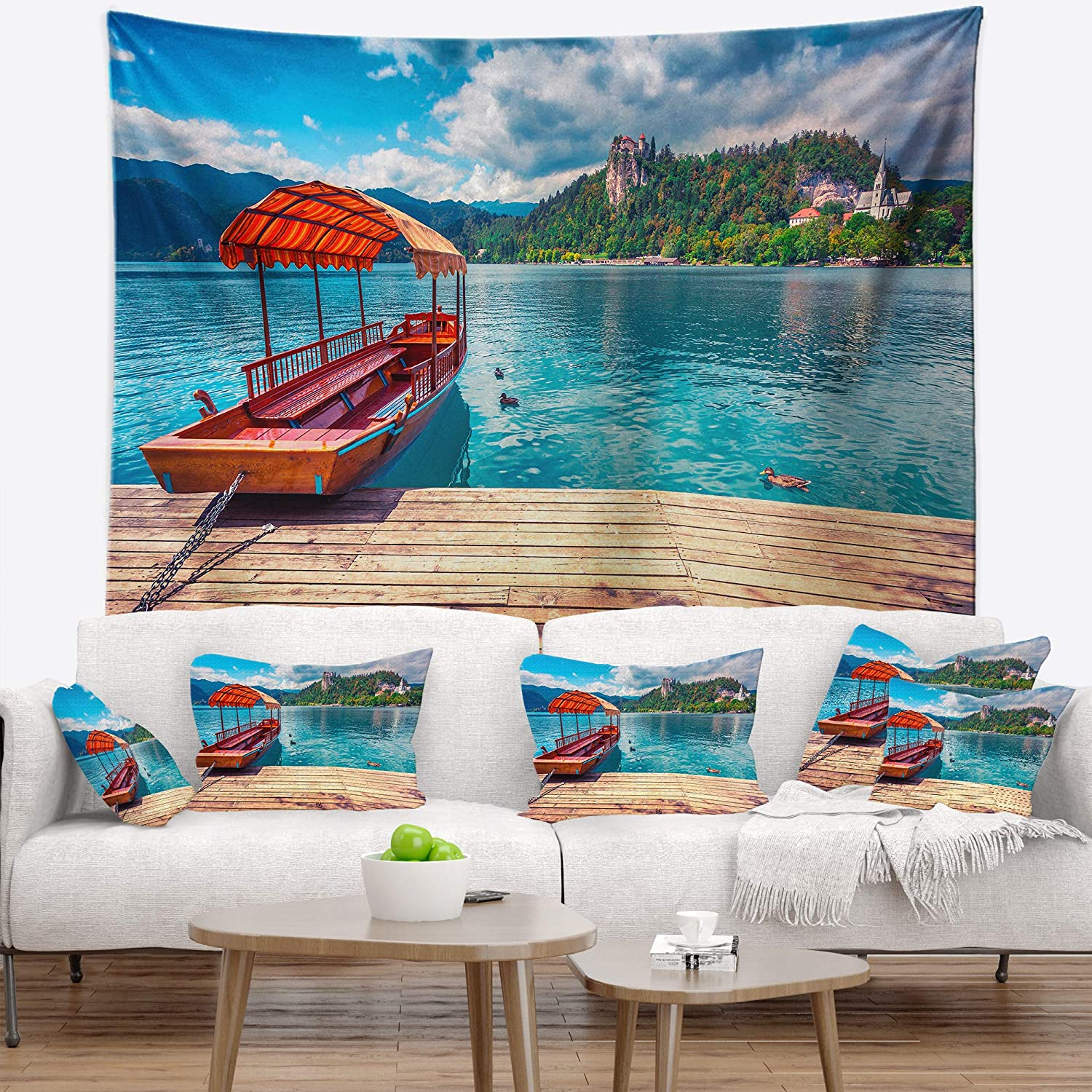 Created On Lightweight Polyester Fabric 60 In X 50 In Designart Tap14574 60 50 Boat In Lake Bled In Julian Alps Landscape Blanket Décor Art For Home And Office Wall Tapestry Large