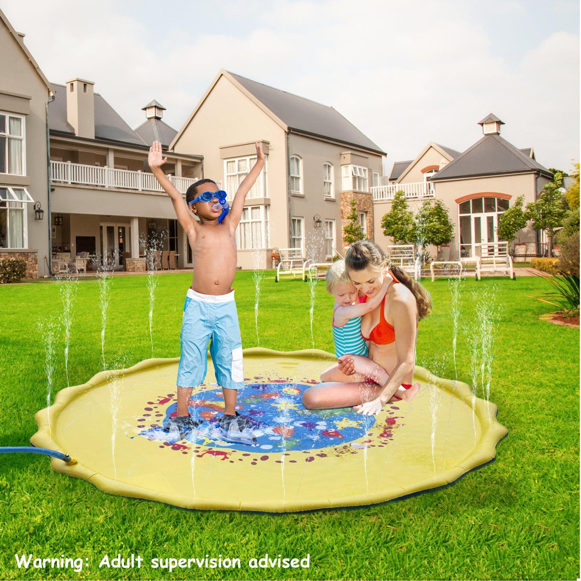 Hoovy Baby Water Splash Mat   68'' Large Diameter Inflatable Outdoor Sprinkler Pad For The Beach, Pool, Garden, Deck, Backyard, Summer & More