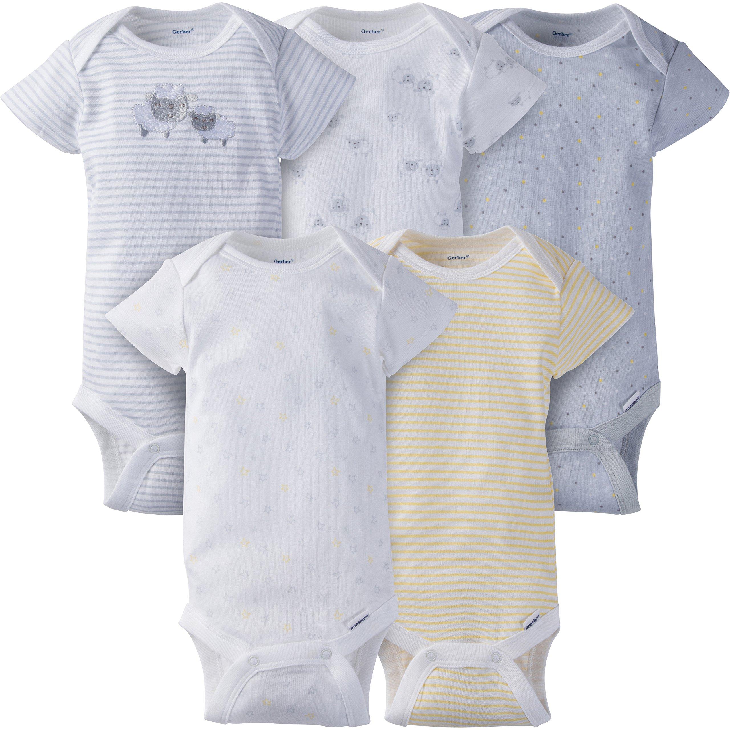 Gerber Baby 5-Pack Short-Sleeve Onesies, Little Lamb, 3-6 Months