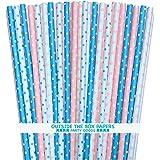 Gender Reveal Paper Straws - Light Blue Pink White - Polka Dot - 7.75 Inches - 100 Pack