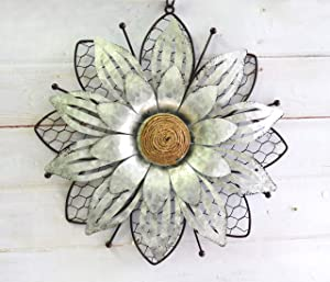 GIFTME 5 Galvanized Flower Wall Art Decor-1pc