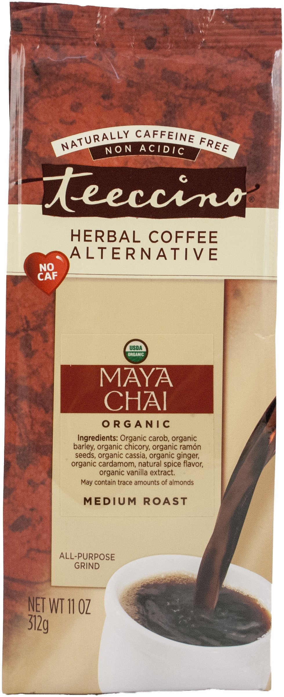 Teeccino Maya Chai Chicory Herbal Coffee Alternative, Caffeine Free, Acid Free, 11 Ounce