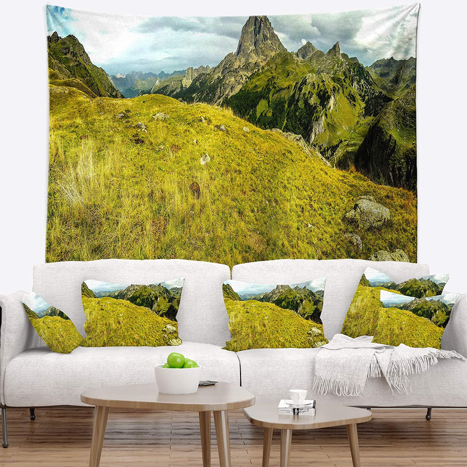 Created On Lightweight Polyester Fabric 60 in Designart TAP15164-60-50  Bright Green Mountain Panorama Landscape Blanket D/écor Art for Home and Office Wall Tapestry Large x 50 in