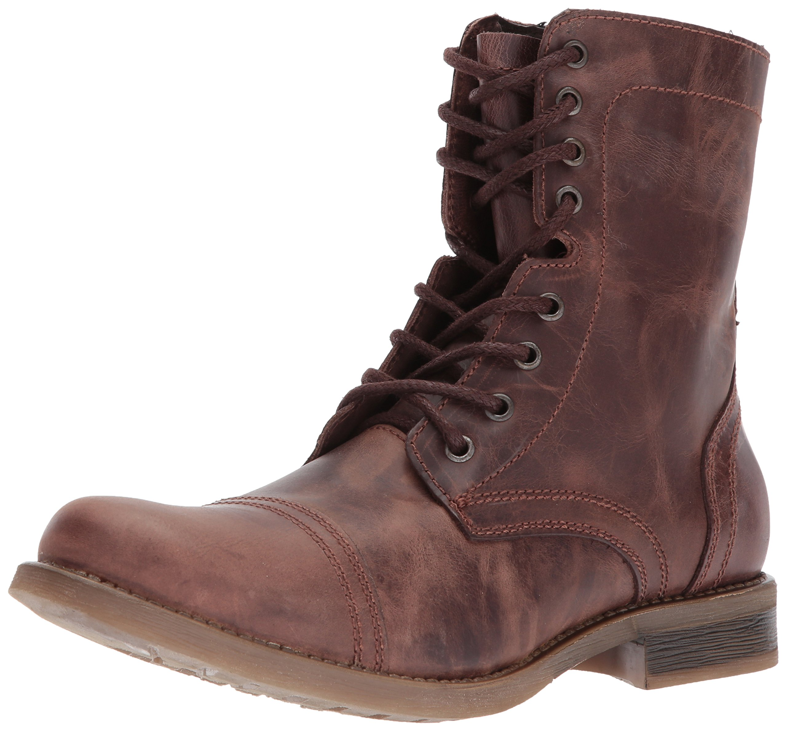 Steve Madden Men's TROOPAH-C Combat Boot, Brown Leather, 10.5 M US by Steve Madden