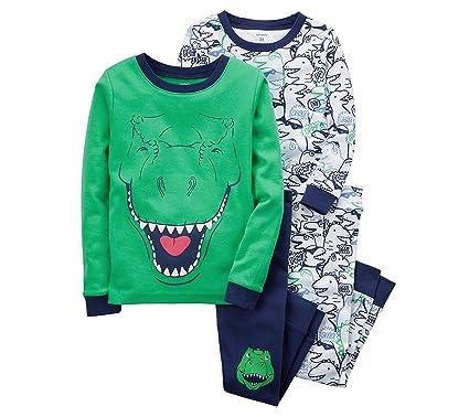 217c11057 Amazon.com: Carter's Boys' 4-12 4 Piece Dinosaur Snug Fit Pajamas ...