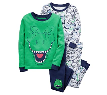 a56716287d64 Amazon.com  Carter s Boys  4-12 4 Piece Dinosaur Snug Fit Pajamas ...