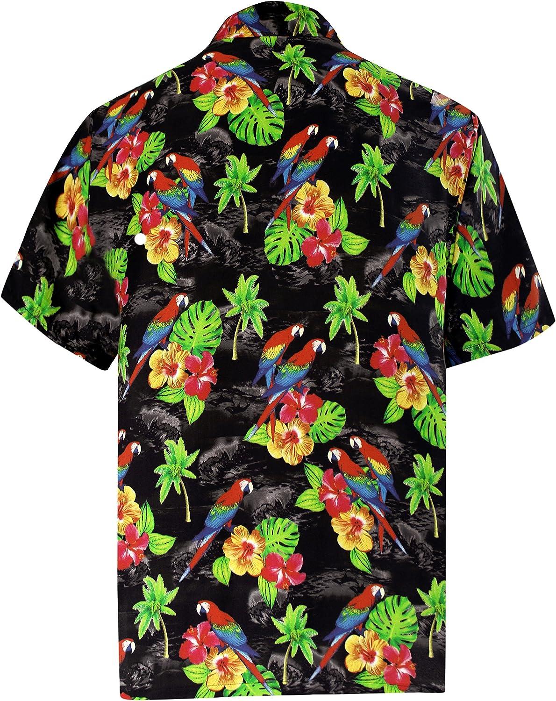 LA LEELA Mens Relaxed Hippie Hawaiian Shirt Button Down Beach Shirt Printed A