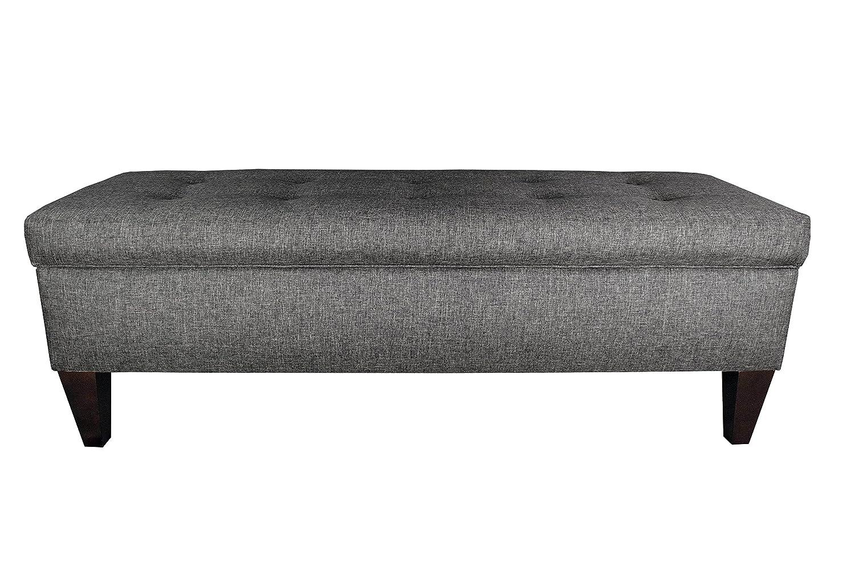 MJL Furniture Designs Brooke Collection Button Tufted Upholstered Long  Bedroom Storage Bench, HJM08 Series, Dark Gray Brown