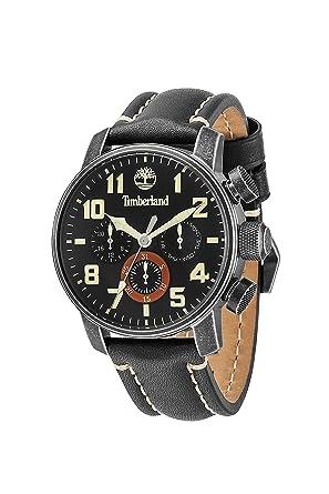 timberland men s quartz watch black dial chronograph display timberland men s quartz watch black dial chronograph display and black leather strap 14439jsq 02