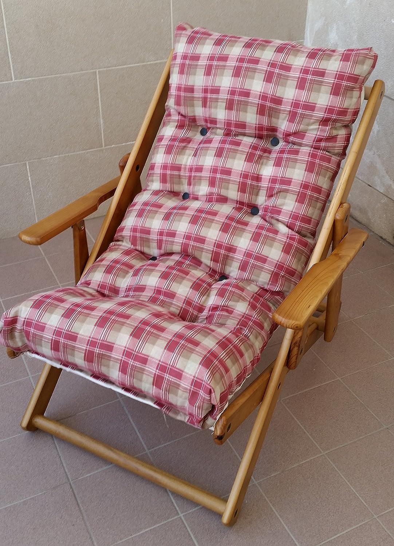 Fauteuil chaise chaise longue relax 3positions en bois pliable Coussin rembourré H 100cm séjour cuisine salon canapé Camping Liberoshopping