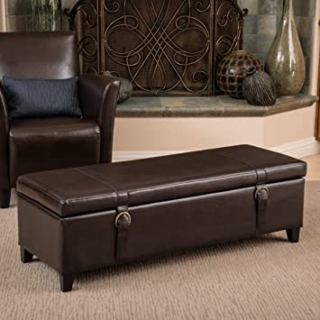 Alice Brown Leather Storage Ottoman Bench