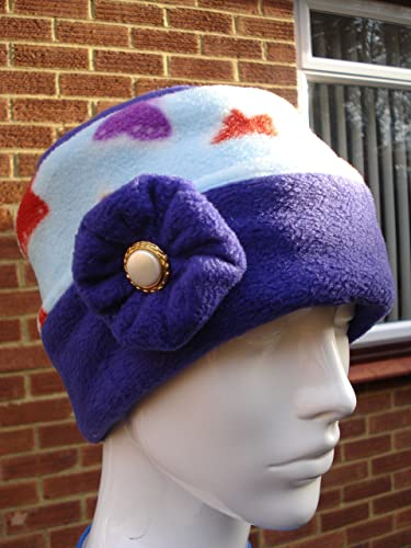 Fleece Pill Box Hat Purple and Pale Blue With Butterflies  Amazon.co ... 0233398159a