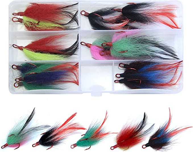 50X Strong Fishing Treble Hooks White Feather Dressed 2//4//6//8//10# Tackle Tool