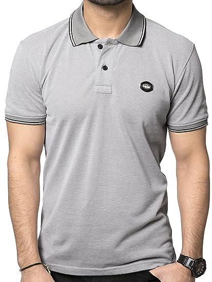 c4260a2a ZEYO Men's Cotton Plain Maroon Red & Grey Polo Tshirt Half Sleeve ...