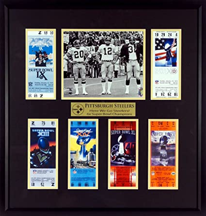"""84a6a00daf9 Amazon.com  Pittsburgh Steelers """"Here We Go Steelers!"""" Super Bowl Tickets  Display (Featuring Super Bowl IX Captains) Framed  Sports Collectibles"""