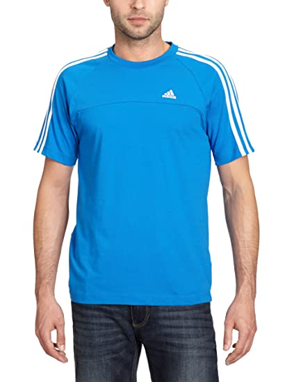 Adidas Essentials 3-Stripes Crew Tee - Camiseta para hombre, color azul /blanco