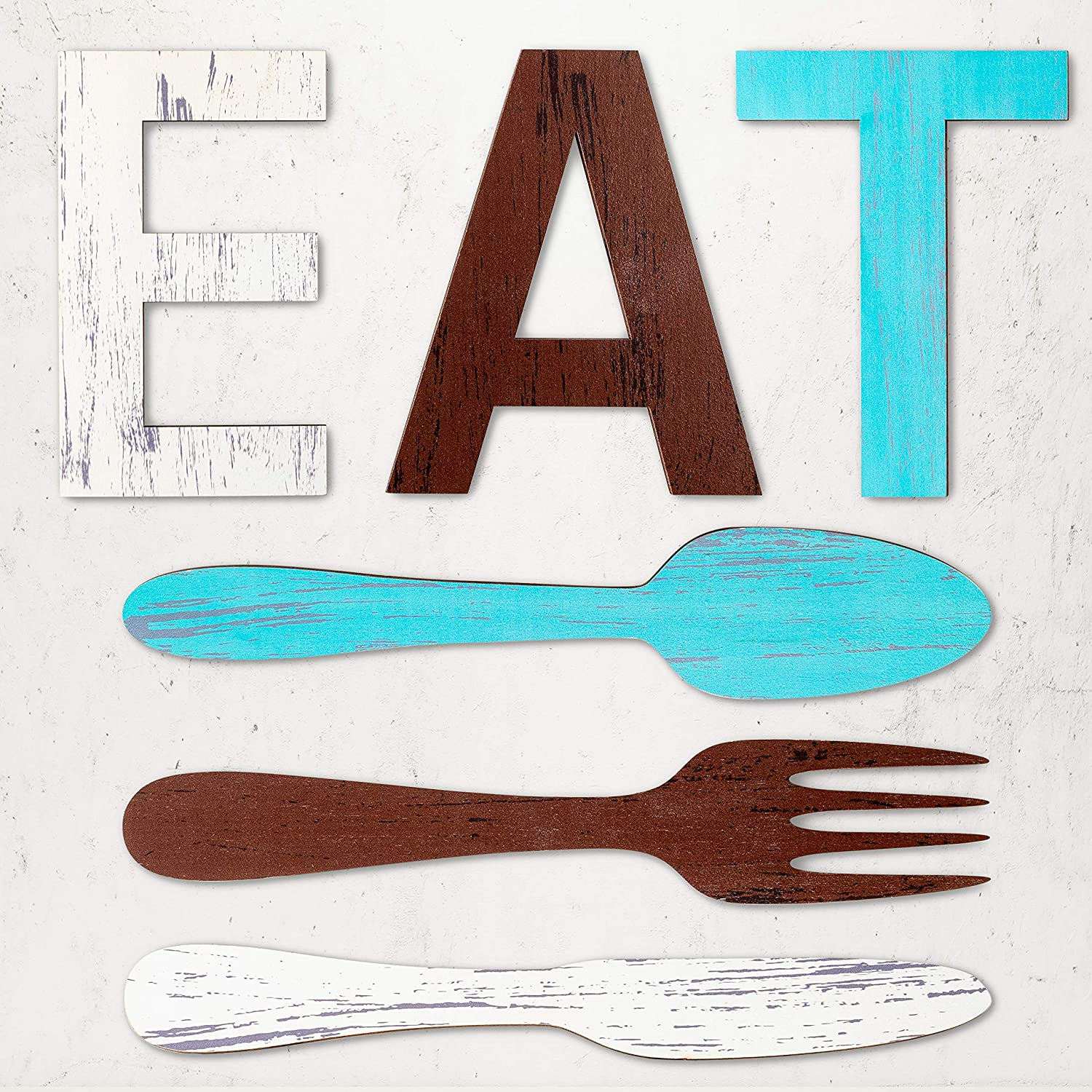 Wood EAT Sign Fork & Spoon & Knife Wall Decor, Rustic Wooden Eat Wall Sign Art Cute Eat Letters Hanging Signs Country Decorative Sign Background Wall Decor for Kitchen Dining Room Home Restaurant
