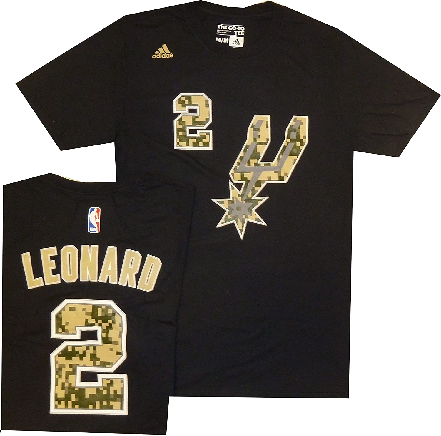 San Antonio Spurs Kawhi Leonard Adidas Black Camo High Def Gametime T Shirt