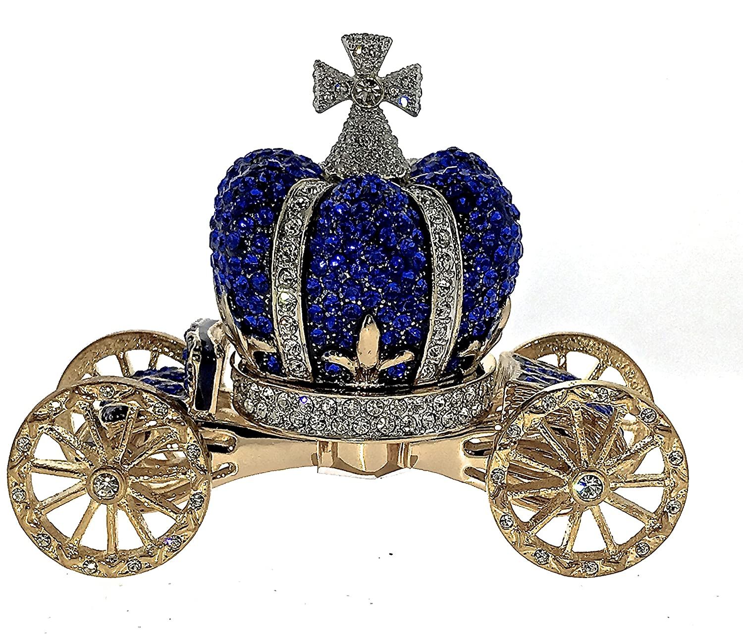 BLUE CROWN COACH Jewelry Trinket Box Enamel Bejeweled Swarovski Crystals Hinged Collectible Keepsake