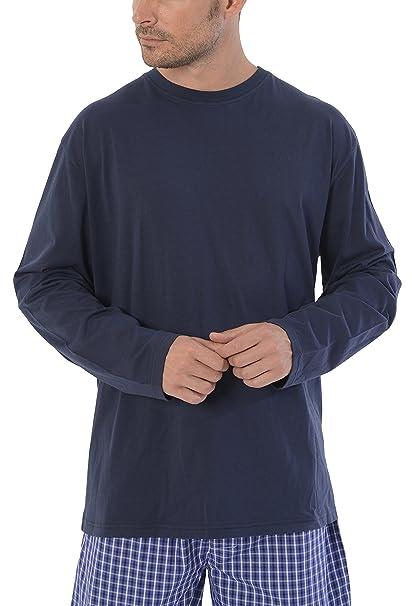 Conjunto de Pijama de Caballero Largo Moderno Liso y a Cuadros/Ropa de Dormir para Hombre