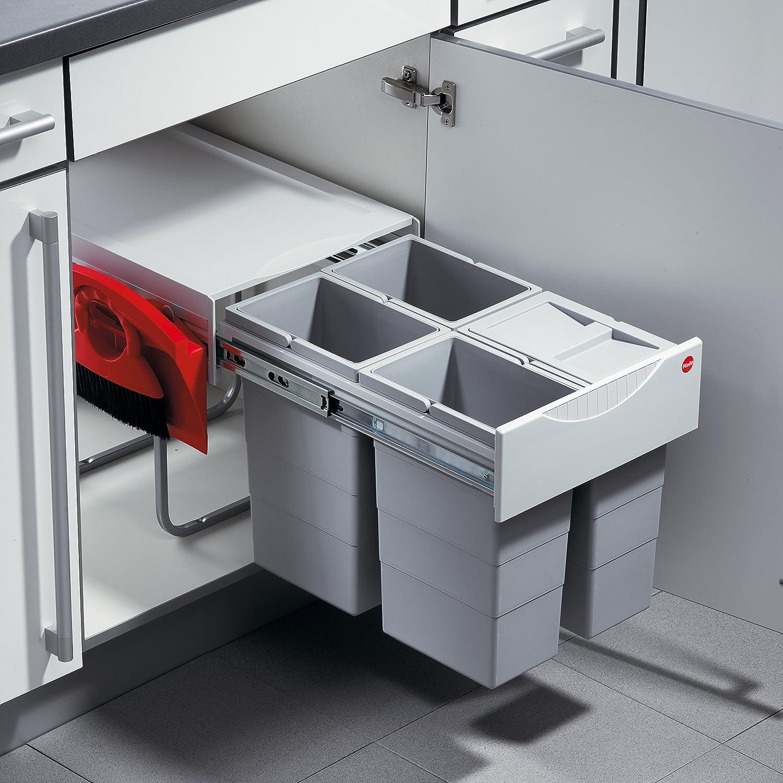 Hailo Raumspar Tandem Küchen-Abfalleimer, Kunststoff, Grau, One Size 3643241