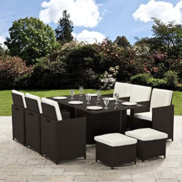 Bella Life 11 Piece 10 Seater Pe Rattan Cube Table Chair Stool