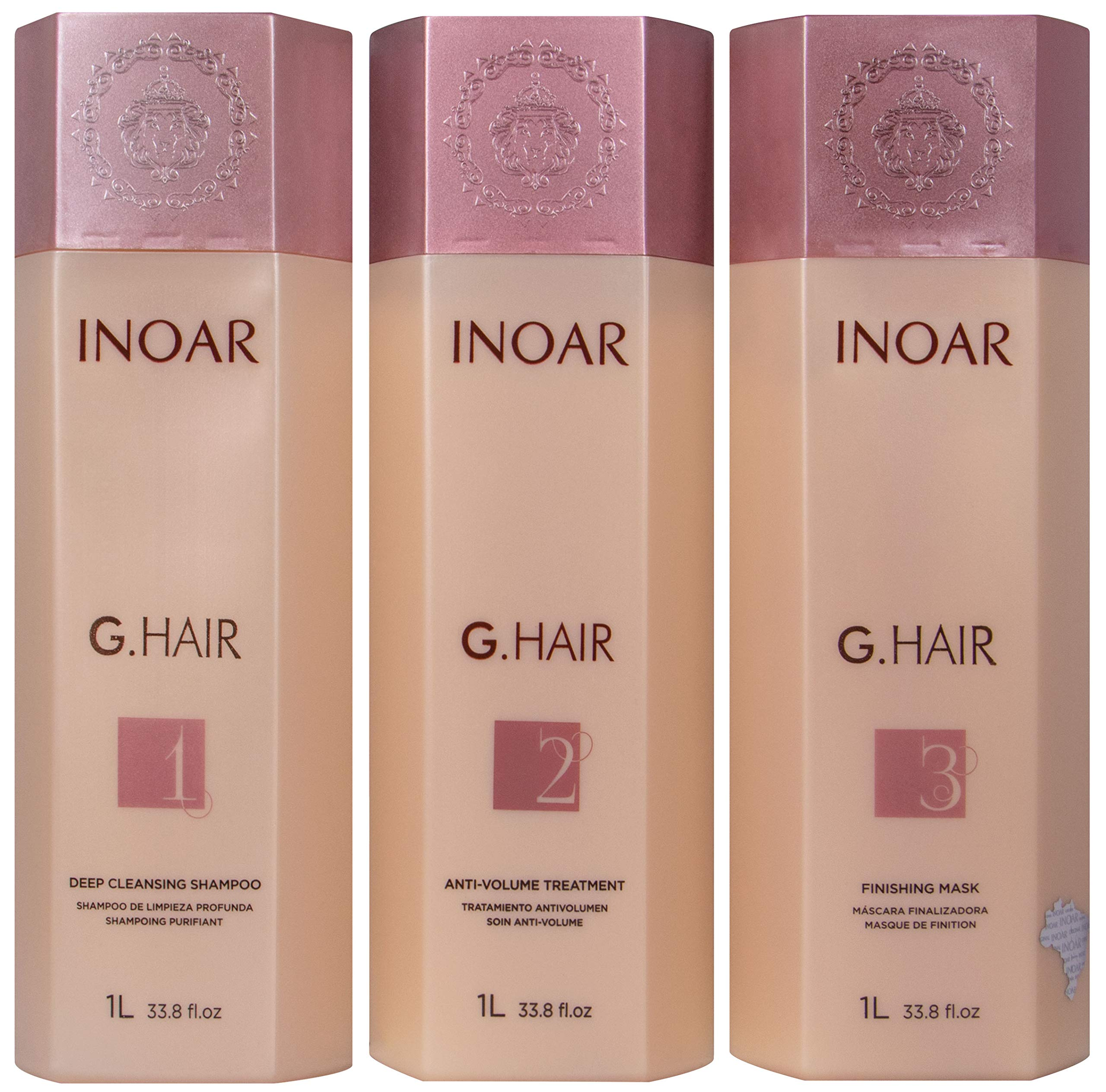 INOAR PROFESSIONAL - G-Hair Keratin Smoothing Shampoo & Conditioner - The Perfect Combination to Hydrate, Smooth & Straighten Your Hair Without Damaging Its Texture (33.8 Ounces /1000 Milliliters) by Inoar