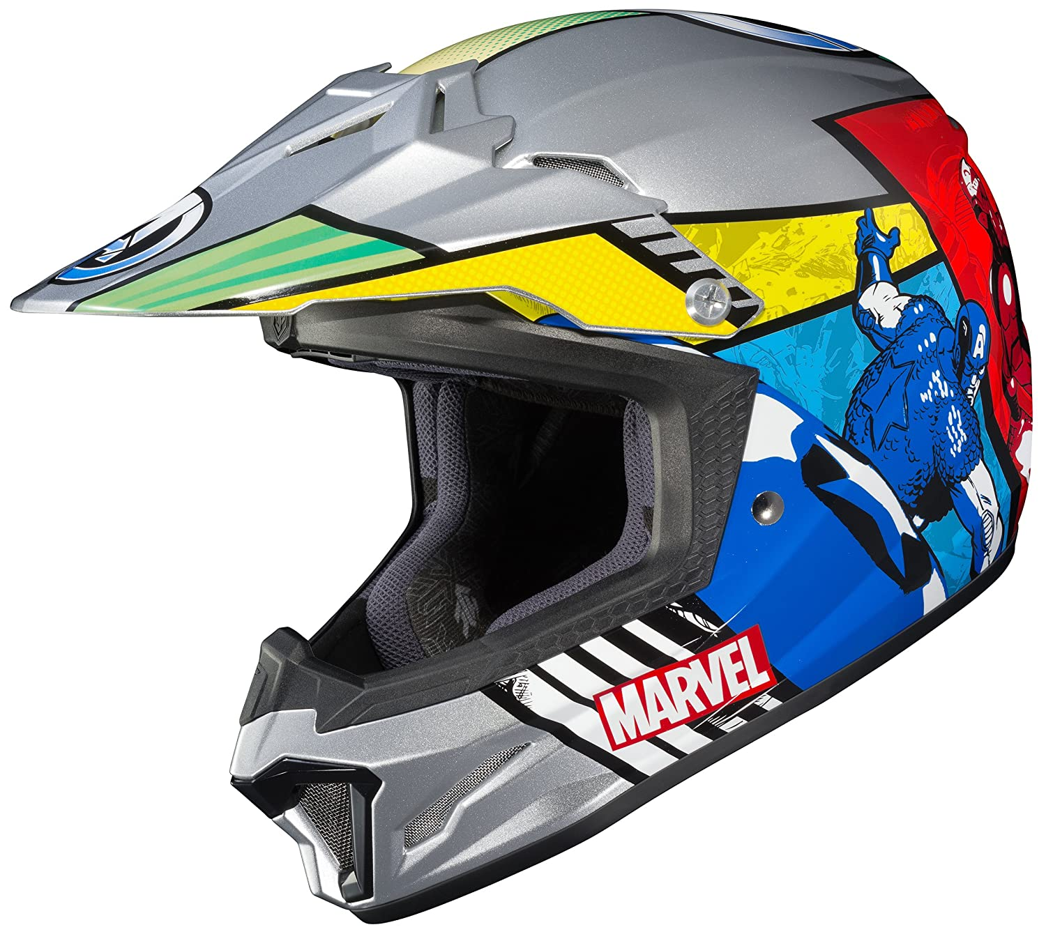 Hjc Helmets Marvel Unisex Child Off Road Helmet Multi Color Large Cl Xy Ii Youth Avengers Mc 21