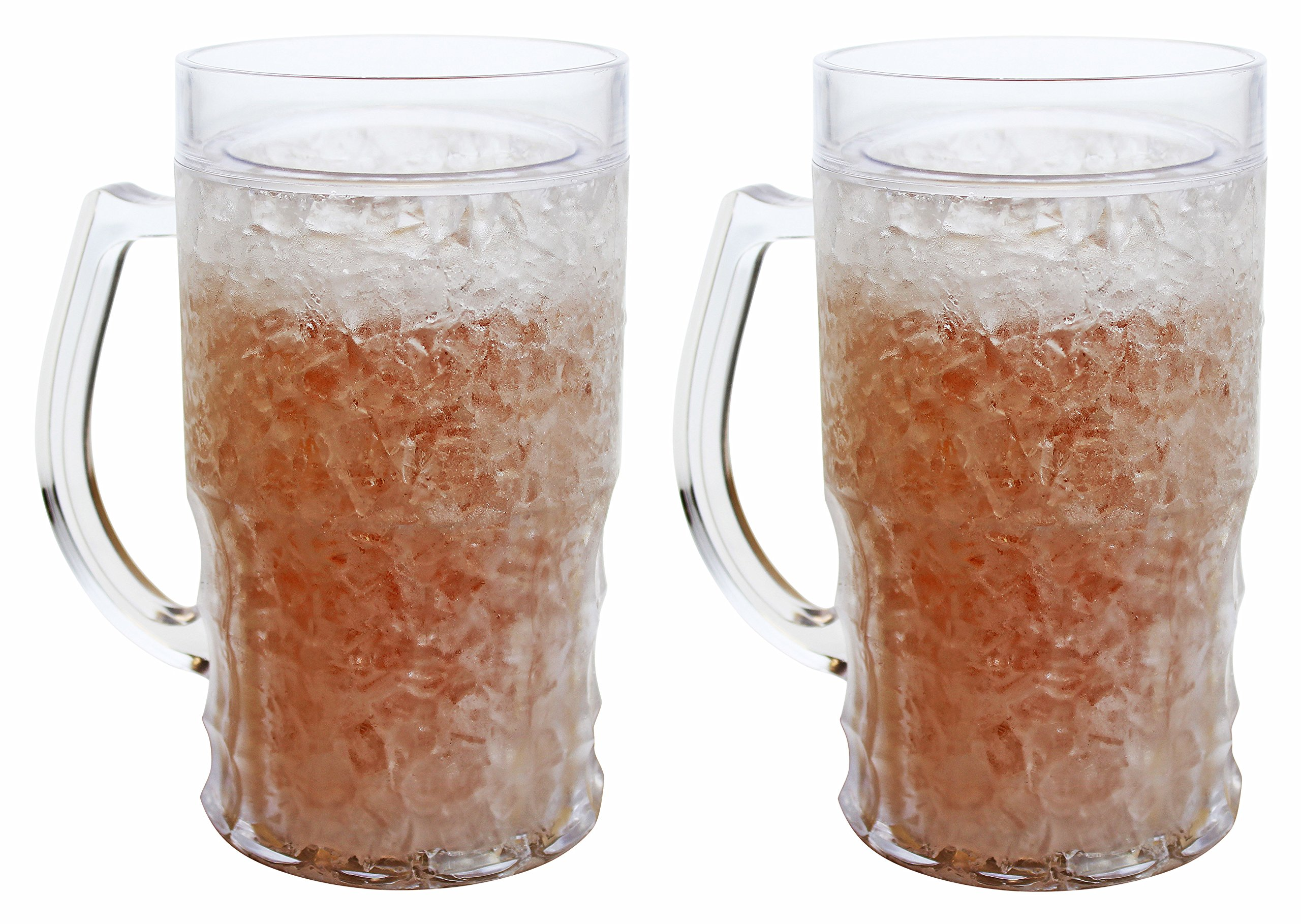 Double Wall Gel Frosty Freezer Mugs Large 22oz, Set of Two, Clear