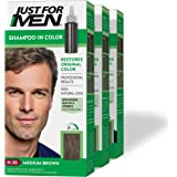 Just For Men Shampoo-In Color (Formerly Original Formula), Gray Hair Coloring for Men - Medium Brown, H-35, Pack of 3…