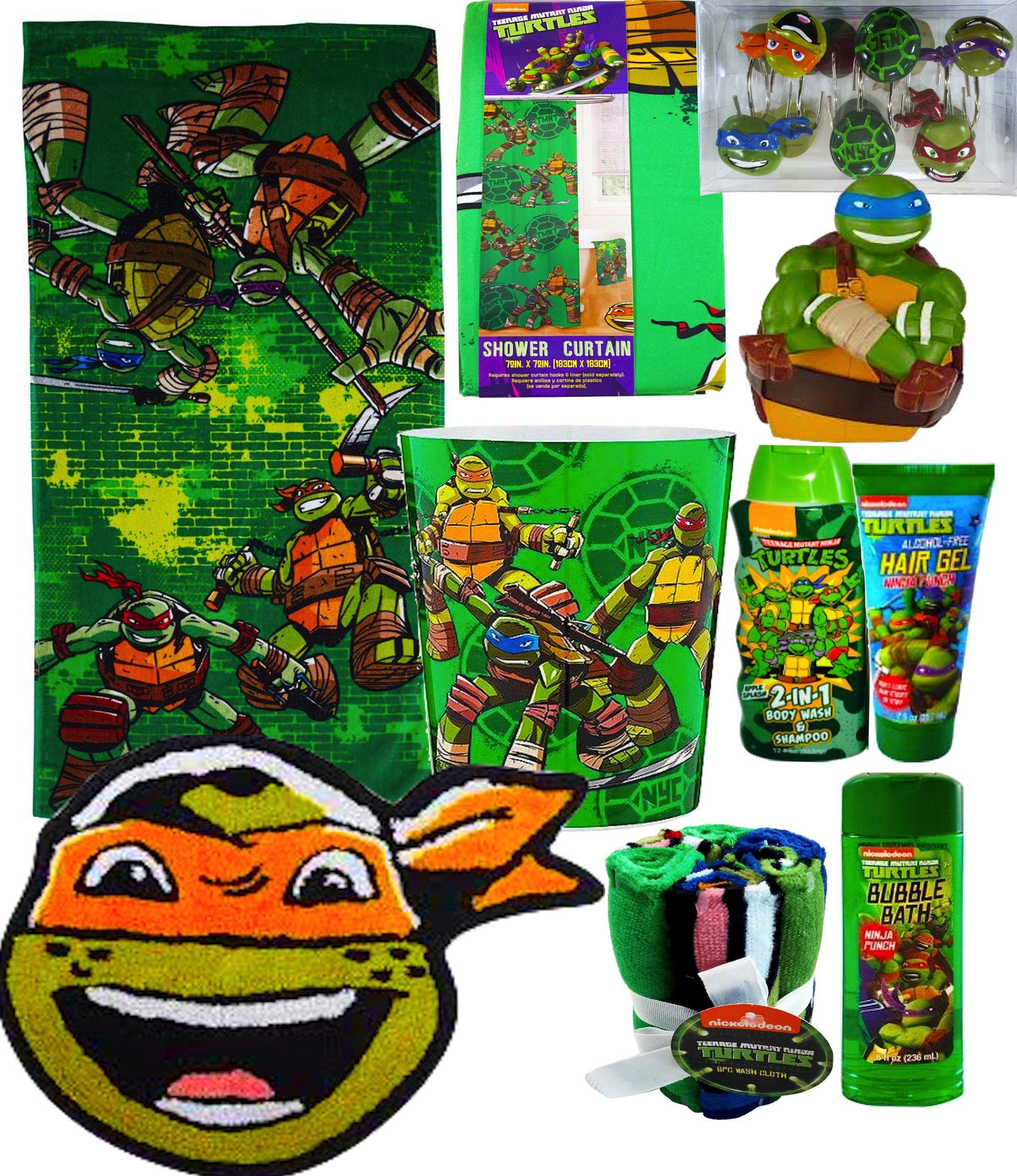Teenage Mutant Ninja Turtles Mega Bathroom Accessories Gift Set Includes Teenage Mutant Ninja Turtles Bath Towel, Waste Basket, Bath Rug, Shower Curtain And More