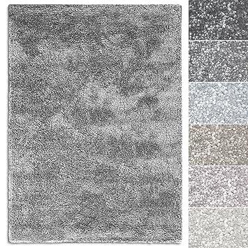 Hochflor Shaggy Teppich Luxus Feeling Mix Silber in 24 Größen