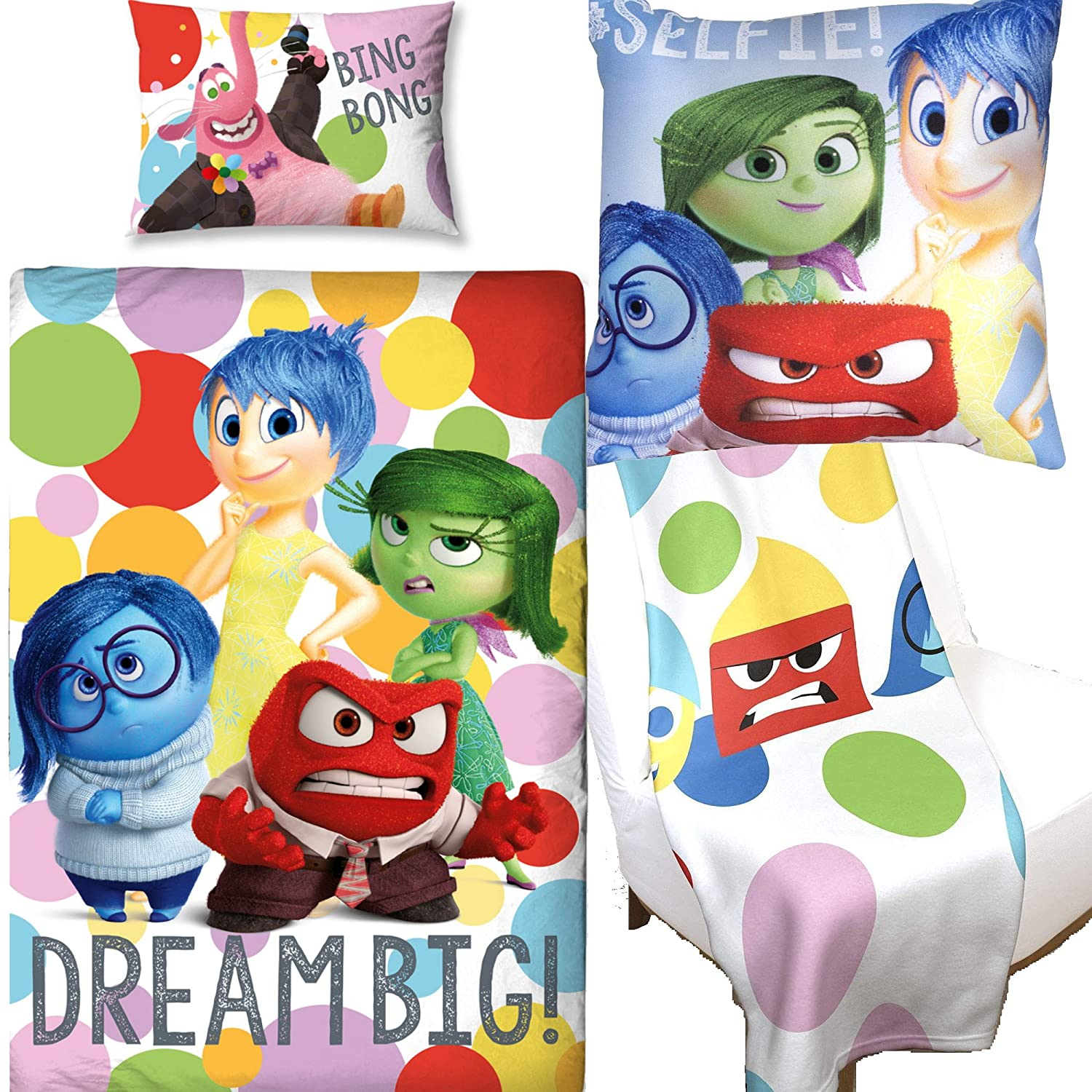 Disney Inside Out Duvet Cover & Square Cushion & Fleece Blanket Bedroom Bundle Set Kidco