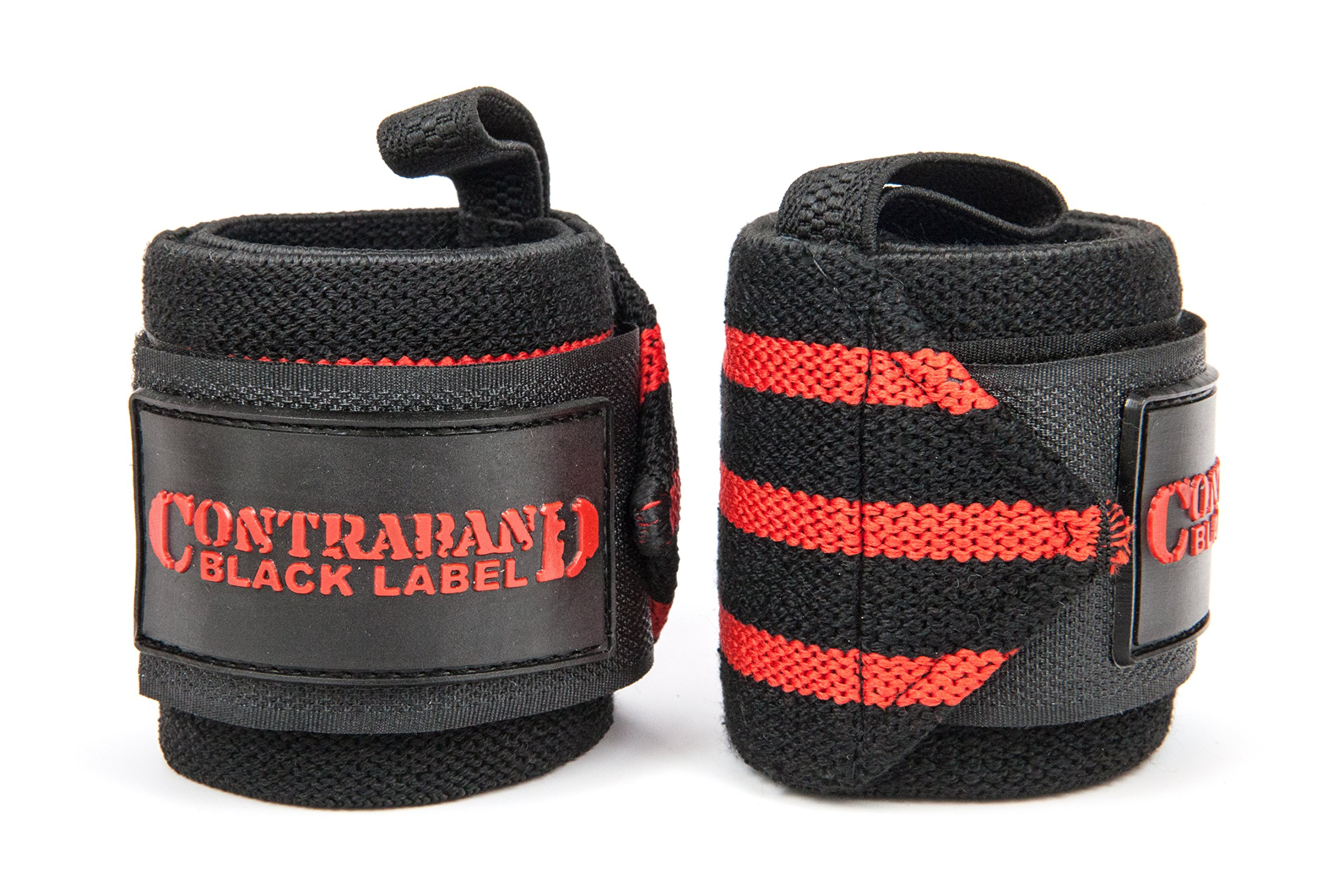 Contraband Black Label 1001 Weight Lifting Wrist Wraps w/Thumb Loops (Pair) - Competition Grade Wrist Support USPA Approved for Powerlifting, Bodybuilding, Strongman (18in, Medium (RED))