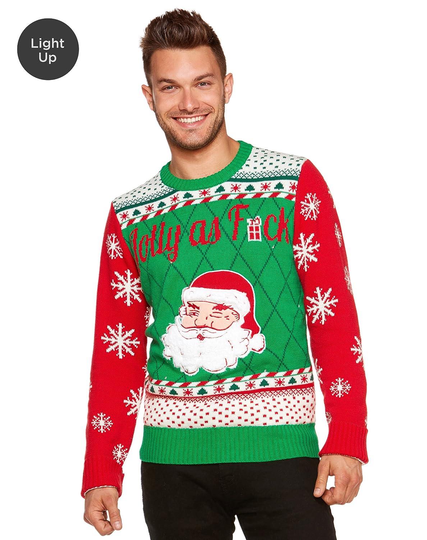 Amazon.com: Spencer Gifts Light Up Ugly Christmas Sweater - Santa ...