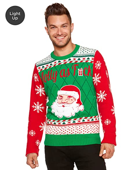 Spencers Ugly Christmas Sweaters.Amazon Com Light Up Ugly Christmas Sweater Santa Jolly As