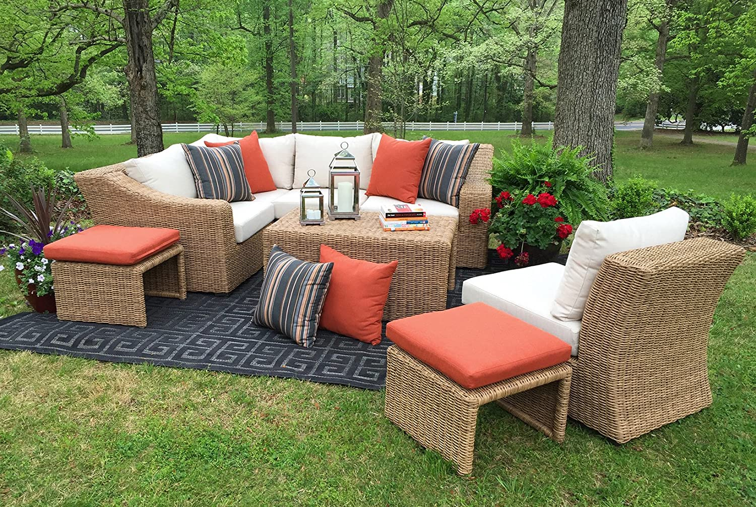 Amazon.com : AE Outdoor SEC200340 8 Piece Arizona Sectional With Cushions :  Garden U0026 Outdoor