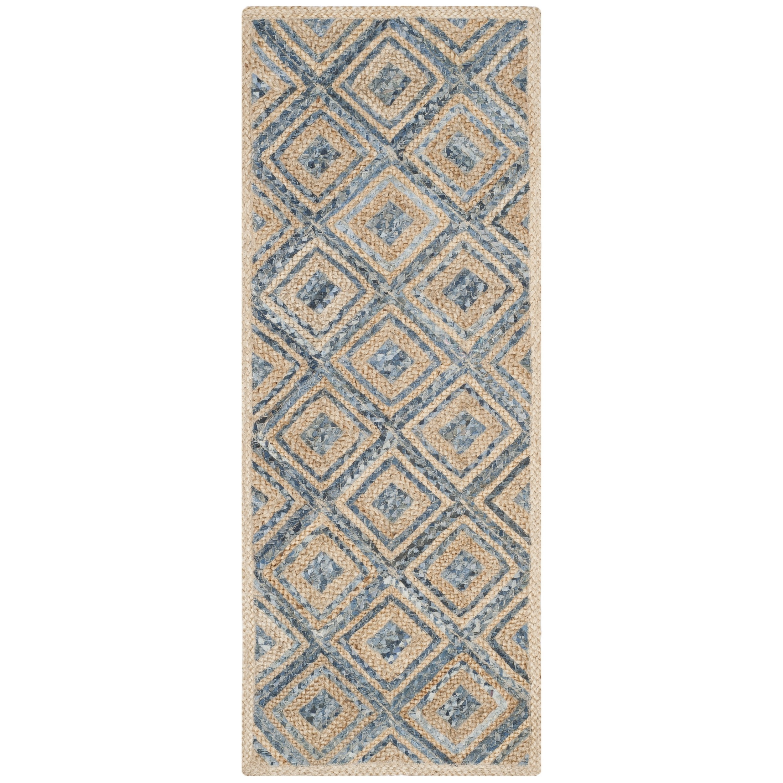 Safavieh Cape Cod Collection CAP354A Hand Woven Flatweave Diamond Geometric Natural and Blue Jute Area Rug (2'3'' x 4')