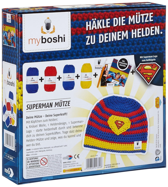 Noris Spiele 606311364 Myboshi Superhelden Superman Häkel Set