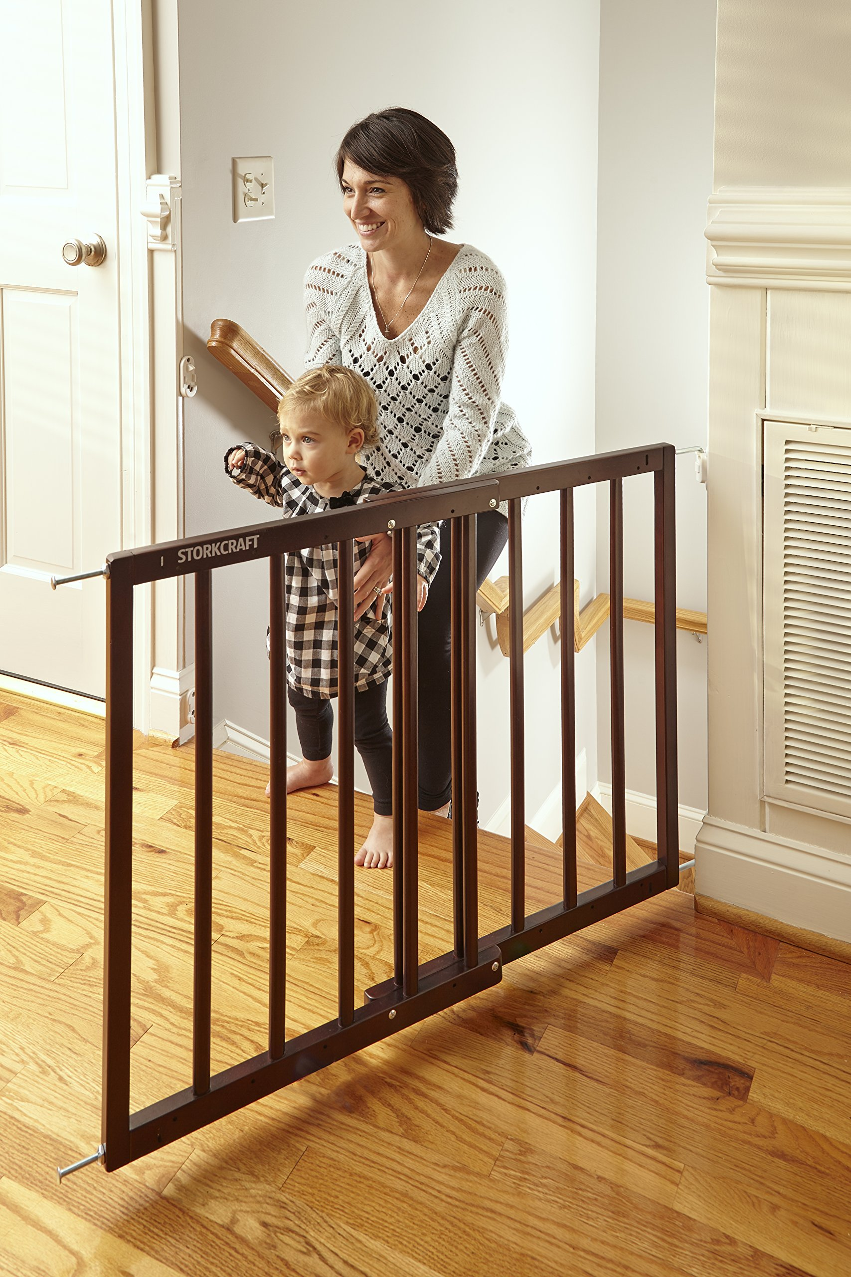 Storkcraft Easy Walk-Thru Wooden Safety Gate, Espresso Adjustable Baby Safety Gate For Doorways and Stairs, Great for Children and Pets by Stork Craft (Image #11)