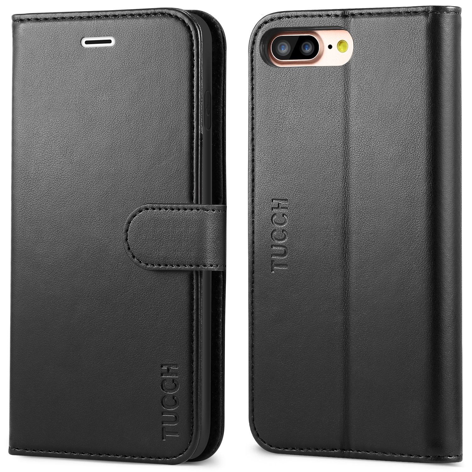 iPhone 8 Plus Wallet Case, iPhone 7 Plus Case, TUCCH Premium PU Leather Flip Folio Case with Card Slot, Cash Clip, Stand Holder and Magnetic Closure [TPU Shockproof Interior Protective Case], Black by TUCCH (Image #10)