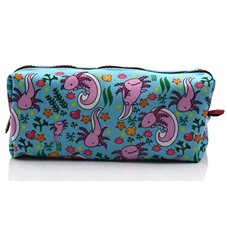 LParkin Axolotl Canvas Pencil Case Pen Bag Pouch Stationary Case Makeup Cosmetic Bag (Blue)