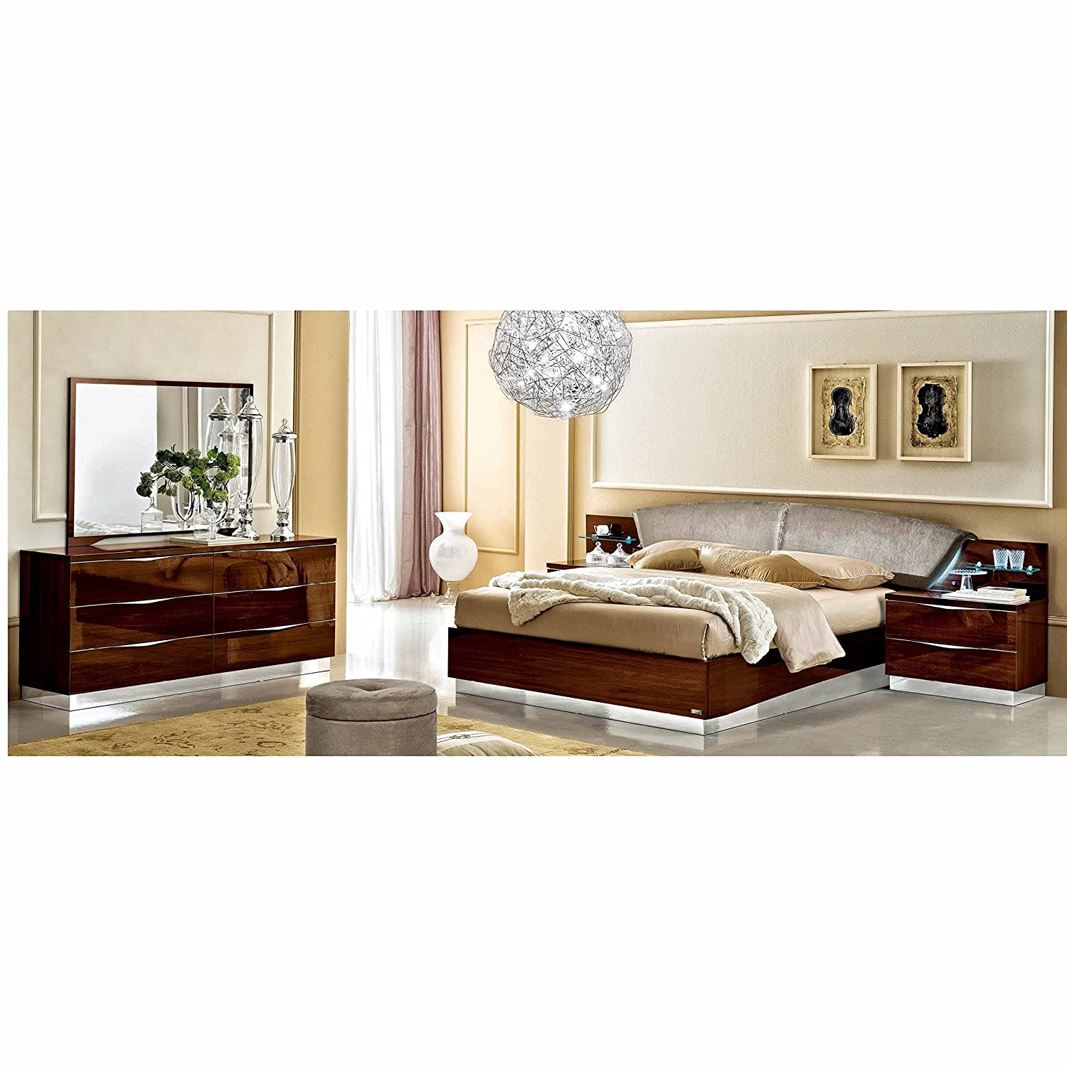 Amazon.com: Luca Home Walnut and Nabuk Italian Leather Bed Queen ...