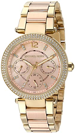 37ecf41ab2b Amazon.com  Michael Kors Women s Mini Parker Gold-Tone Watch MK6477 ...