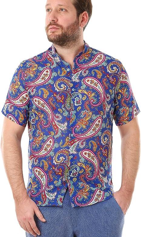 LailaAda by Cacala Nice Camisa de Playa con Botón Arriba para Hombre, Cuello Corto, Algodón Fresco, Patrón Floral: Amazon.es: Deportes y aire libre