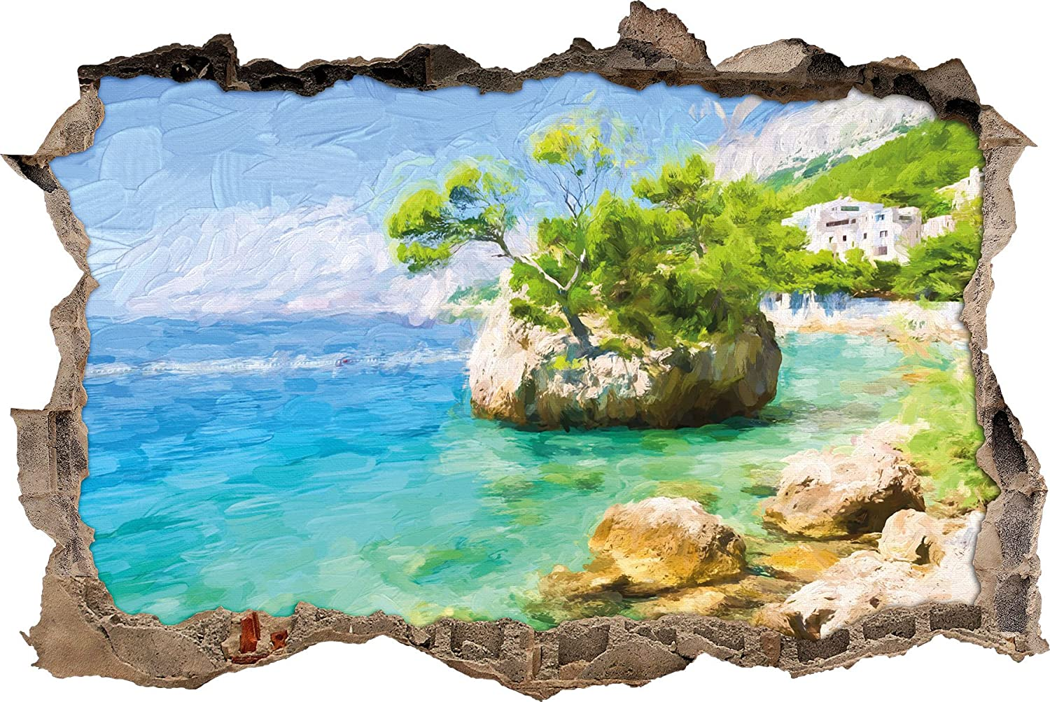 Beautiful Dalmatia beach in Croatia Art Brush effect Wall breakthrough in 3D look, wall or door stickers, wall stickers, wall sticker, wall decoration Stil.Zeit