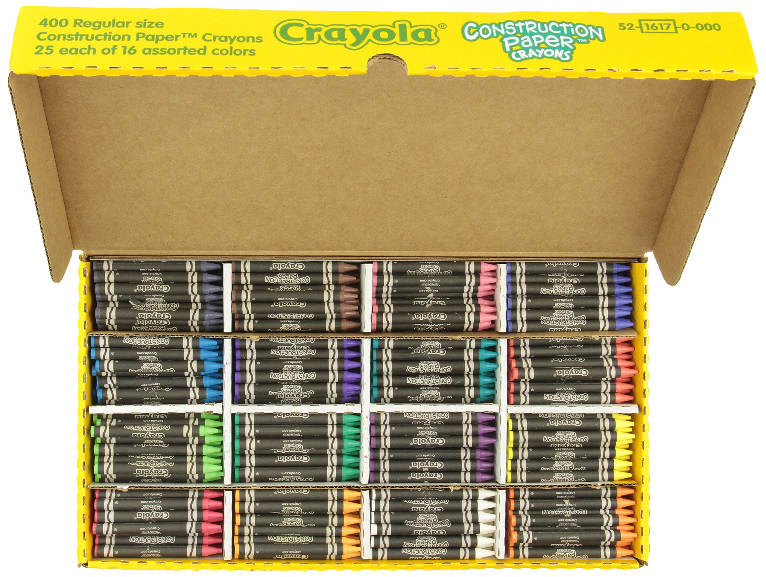 Crayola 52-1617 Class Pack Crayola Construction Paper Crayons, 25 ea. of 16 Colors, 400/Set by Crayola